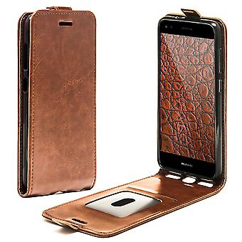 Shell for Huawei P9 Lite Mini Brown Flip Case Protection Leather Card Holder