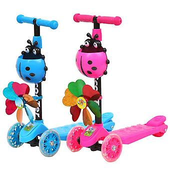 Windmill Ladybug Scooter Foldable and Adjustable Height Lean to Steer 3 Wheel Scooters for Toddler Kids Boys Girls