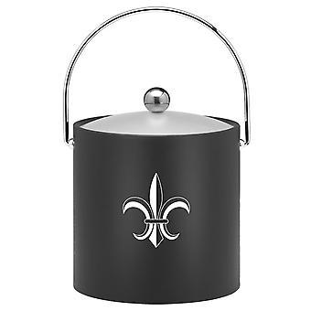 Kasualware 3 Qt. Ice Bucket Black Fleur De Lis
