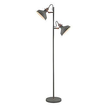 Luminosa Valaistus - Lattiavalaisin, 2 x E27, Hiekanharmaa, Kupari, Valkoinen
