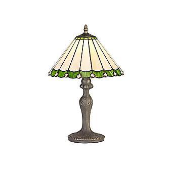 Luminosa-valaistus - 1 kevyt kaareva pöytävalaisin E27 30cm Tiffany Shadella, vihreä, kristalli, ikääntynyt antiikki messinki