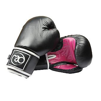 Fitness Mad Women's Leather Sparring Gloves 8oz Black/Pink