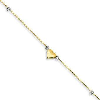 14k Two Tone Hollow Polished Gold Adjustable Puffed Love Heart Beads Anklet 10 Inch Spring Ring Jewelry Gifts for Women