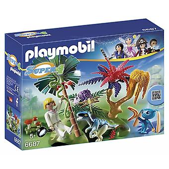 Playmobil Super 4 Lost Island with Alien and Raptor