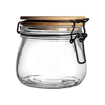 Luftdichte Aufbewahrung Jar mit Holzdeckel - Runde skandinavischen Stil Glas kanister - klare Dichtung - 500ml