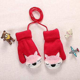 Cartoon Fox Baby Mittens- Winter Warm Kids Baby Girl Gloves Knitted Children Toddler Teething Mitten Handschoen