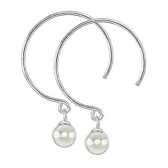 Dew Sterling Silver Shell Pearl Hoop Earrings 58356SHP027
