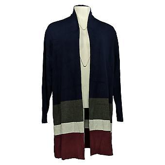 Belle by Kim Gravel Women's Sweater Color-Block Cardigan Blue A367268