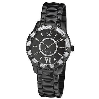 Gv2 By Gevril Women's 11713-425 Venice Black Dial Black IP Diamond Wristwatch