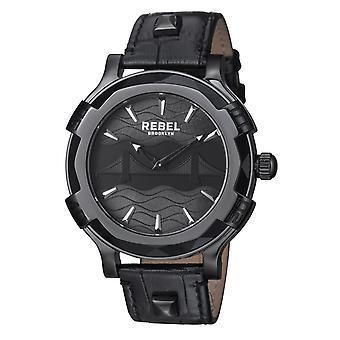 Rebel Men-apos;s RB102-6071 Brooklyn Bridge Black Dial Black Leather Montre-bracelet