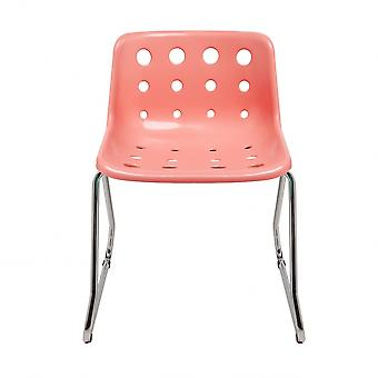 Loft Robin Day Sled Coral Pink Plastic Polo Chair