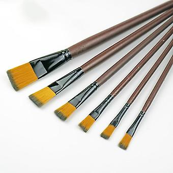 Nylon Oil Paint Pen, Wooden Handle Brushes For Acrylic Painting Student School