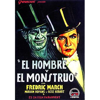 Dr Jekyll And Mr Hyde Fredric March On Spanish Poser Art 1932 Movie Poster Masterprint