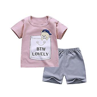 Été Short Sleeve Boys Clothes Set- Cotton Girls Clothes Two-piece Body Suit