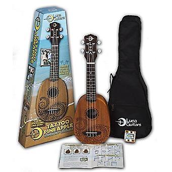 Luna tattoo mahogany soprano pineapple ukulele pack