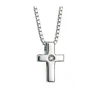D for Diamond 925 Sterling Silver Children's Diamond Cross Pendant Necklace of Length 35cm