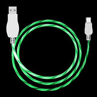 LED Flowing Light 1m USB A to Micro USB Data Sync Charge Cable, For Galaxy, Huawei, Xiaomi, LG, HTC and Other Smart Phones (Green)