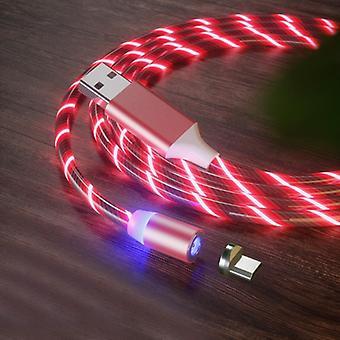 USB naar Micro USB Magnetic Suction Kleurrijke Streamer Mobiele Telefoon Oplaadkabel, Lengte: 1m (Rood licht)
