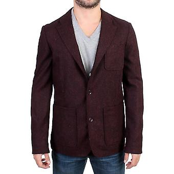 GF Ferre Bordeaux Wool Blend Two Button Blazer
