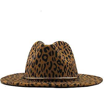 Simple Unisex Flat Brim Wool Felt Jazz Fedora Hats Men Women Leopard Grain