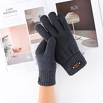 Winter Knitted Gloves, Men's Thermal Soft Lining, Elastic Cuff, Acrylic