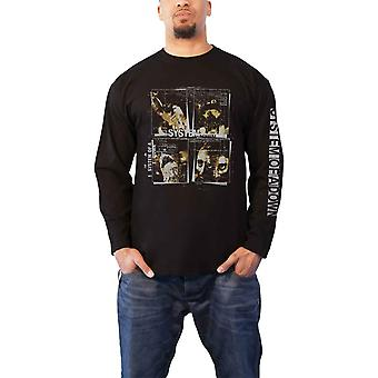 System Of A Down T Shirt Face Boxes Band Logo Official Mens Black Long Sleeve