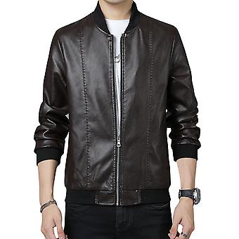 Men's Loose Collarless Velvet Casual Leather Jacket