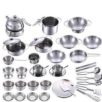 Stainless Steel Kitchen-cookware And Tableware Pretend Role Play