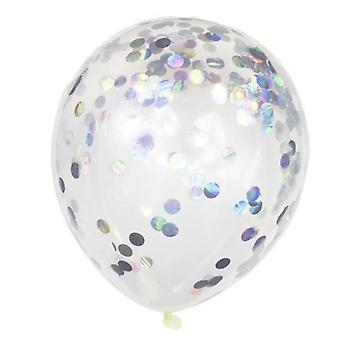 Balloons with Iridescent confetti shimmering in rainbow colors
