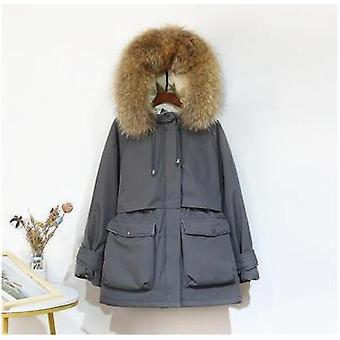 Large Natural Fox Fur Hooded Winter Jacket, Thick Parkas Warm Sash Tie Up Snow