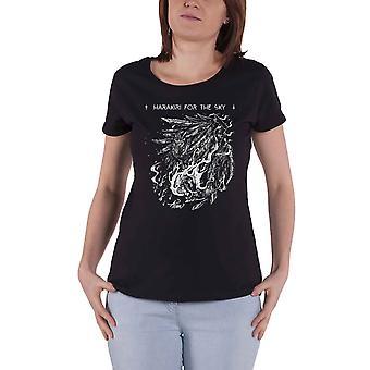 Harakiri For The Sky T Shirt White Logo new Official Womens Skinny Fit Black