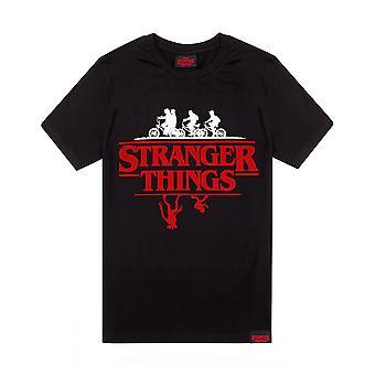 Camiseta Stranger Things para hombres y mujeres | Adultos al revés negro manga corta top | Mercancía original de Netflix