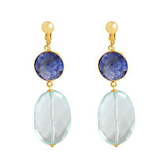 Gemshine oreille clips saphir et aquamarine pierres de quartz. Argent, plaqué or, rose