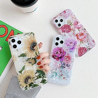 iPhone 12 & 12 Pro shell artificial mother of pearl sunflower flowers