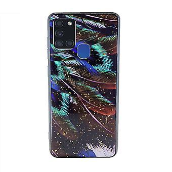 FONU Blatt Druck Backcase Fall Samsung Galaxy A21s - Gold Glitters
