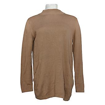 Coleção Joan Rivers Classics Women's Sweater Mock Neck Bege A366416