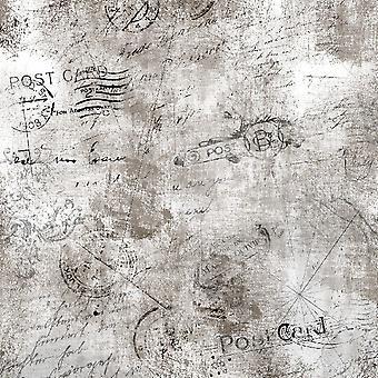 Tapete impresso de cartão postal antigo multicolorido em poliéster, algodão, L120xP180 cm