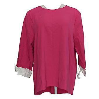 BROOKE SHIELDS Women's Top Timeless 3/4-Sleeve Hi-Low Pink A349670