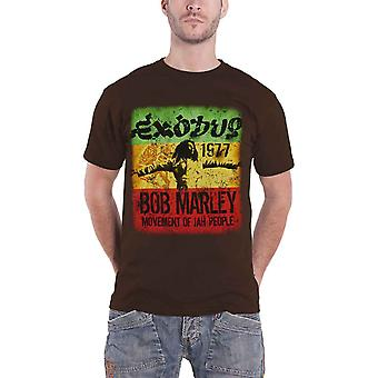 Bob Marley T Shirt Movement Exodus 1977 Distressed Official Mens New Brown