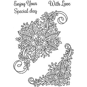 Sweet Dixie Stamp Set - Fantasy Floral Swirl And Corner