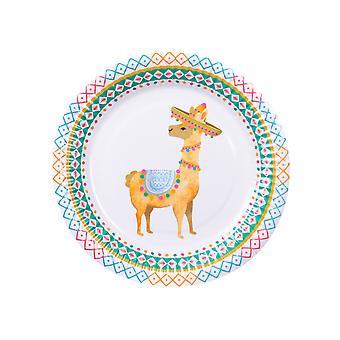 6 Assiettes en carton lama blanches 23 cm