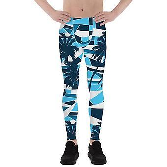 Mens Leggings - Blue Surf Tropical Palm Trees
