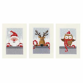 Vervaco عد عبر غرزة كيت : بطاقات المعايدة : عيد الميلاد رفاقا أنا : مجموعة من 3