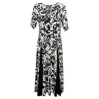 Nina Leonard Petite Dress Nicole Belted Midi with Godet Detail Black 685869