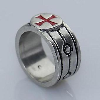 Tempeliers zilveren rode kruisring