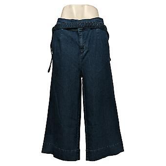 Du Jour Women's Pants Plus Paper Bag Waist Denim Culotte Crop Blue A347557