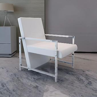 vidaXL fauteuil met verchroomde voetjes wit kunstleer