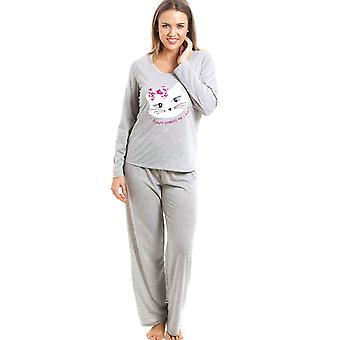 Camille серый полная длина киска кошка мотив для пижамы набор