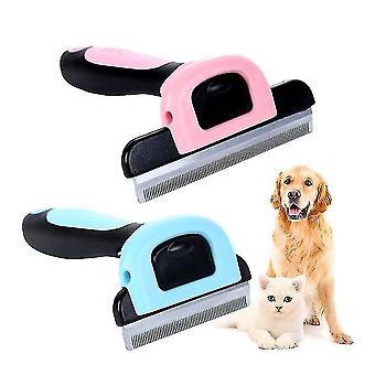 الأوسط 6.5cm فرشاة مزيل الشعر الوردي والاستمالة التشذيب مع مقص للانفصال عن القط الكلب الحيوانات الأليفة az12273