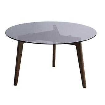 Creative Mirror Round Table Tempered Glass Coffee Sofa Side End With Solid Wood